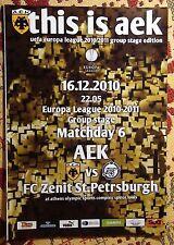Programs AEK Greece - FC Zenit Saint Petersburg 2010