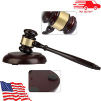 Handcrafted Wooden Gavel & Block For Lawyer Judge Auction Wood Hammer Gifts New
