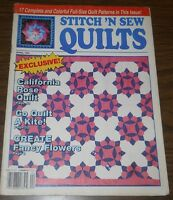 April 1991 ~ Stitch 'n Sew Quilts Magazine Quilting California Rose Quilt #3558