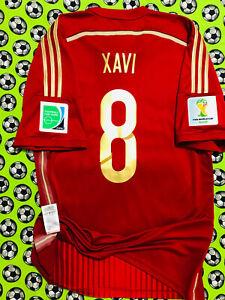 RARE Adidas Spain Home Soccer Football Jersey World Cup 2014 Xavi Hernandez