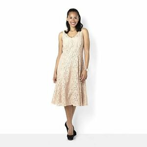 Tiana B Lace Princess Seam Fit & Flare Dress Nude Size 10 BNWT