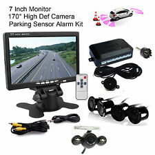 "4 Parking Sensors Radar Alarm+CCD Car Reverse Camera 7"" HD Rearview LCD Monitor"