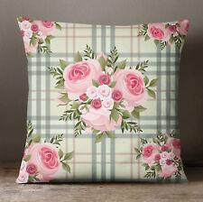 S4Sassy Square Cushion Cover Floral Print Decorative Beige Pillow Case