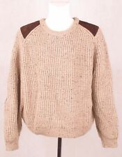 ARAN CRAFTS IRELAND Mens 100% Wool Chunky Knit Brown Jumper Sweater XL
