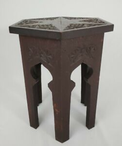 Vintage Tiger Oak Taboret Table Plant Stand Arts And Crafts Mission Hexagon