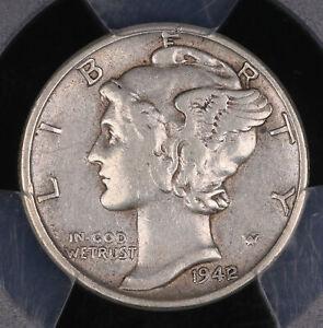 1942/1 MERCURY SILVER DIME OVERDATE COIN PCGS XF45