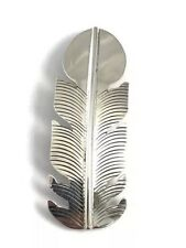 Native American Sterling Silver Navajo Hand Made Feather Design Hair Barrett