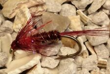 4 Size 10 Red headed UV micro fritz claret  cruncher Trout Flies