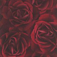 Floral Rose Papier Peint Rouge Profond - Rasch 525625 Fleurs