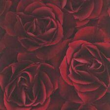 FLORAL ROSE WALLPAPER DEEP RED - RASCH 525625 FLOWERS