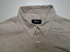 Hugo BOSS Classic Fit Uomo Camicia Manica Lunga Crema Tinta Taglia M TOP!
