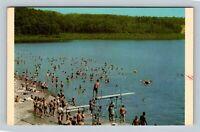 Beckley WV, Beach, Swimming, Lake Stephens, Chrome West Virginia c1969 Postcard