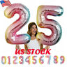 32'' Rainbow Big Number Foil Balloon Birthday Wedding Party Anniversary Decor US