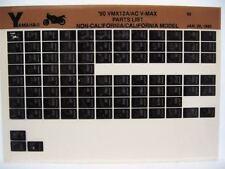 Yamaha VMX12 V-Max 1990 VMX1200A VMX1200AC  Parts List Manual Microfiche o27