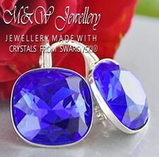 925 SILVER EARRINGS 12MM FANCY STONE MAJESTC BLUE CRYSTALS FROM SWAROVSKI®