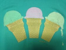 Vintage Ice Cream Cone Collared Mint Green Large Sweatshirt