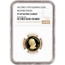 AH 1389//1970 Fujairah Gold Richard Nixon Proof 25 Riyals - NGC PF69 UCAM