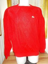 453795d7d4 Pull coton rouge ajouré LACOSTE DEVANLAY Taille 6 XL col rond Made in France