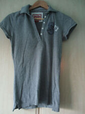 ladies SUPERDRY GREY COTTON POLO SHIRT SIZE SMALL