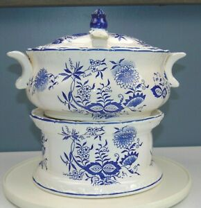 RARE Vintage BLUE ONION Soup Tureen FOOD WARMER