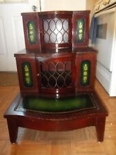 ANTIQUE THREE TIER END TABLE * GREEN LEATHER TOP * UNIQUE FURNITURE VINTAGE