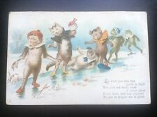 Carte postale fantaisie chat singe grenouille Vierge non circulée