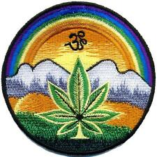 Pot leaf aum om hippie weed marijuana embroidered applique iron-on patch T-13