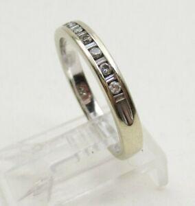 Estate 0.15 CTW Diamond 14K White Gold Wedding Ring Eternity Band Size 6.25-6.5