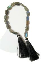 Full strand of Labradorite hand faceted graduated oval beads 8 x 13mm gemstones