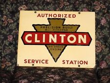 Clinton Air Cooled Gas Engine Vintage Antique Advertising Sign Hit Miss