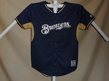 MILWAUKEE BREWERS  sewn logo JERSEY by MAJESTIC  Youth Large  NEW  bt