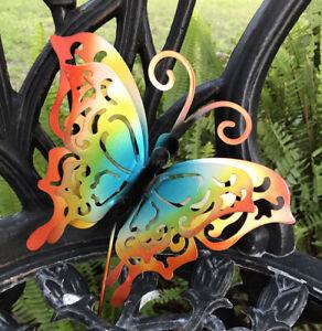 """Metal Garden Decor 24"""" Butterfly 3D Yard Art Lawn Ornament Steel Stake Pick NEW"""
