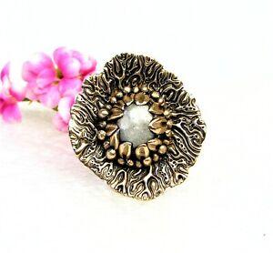 Organic Style Golden Bronze Ring-Moonstone-Size 8