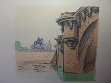 57/  AQUARELLE PARIS / Le pont Neuf et statut d'Henry IV