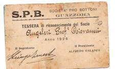PNF WW2 TESSERA SOCIETA PRO BOTTONI GUAZZORA 1926 tss2