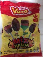 Mexican Candy Vero Mix Banda Fuego Lollipops Paletas 40 Pieces Vero Mango Elote