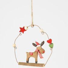Sass & Belle Whimsical Rudolf Reindeer Hanging Plaque Wood Decoration Xmas Decor