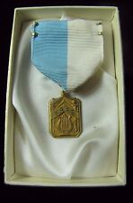 Orig Gold Filled 1949 S.A.A.S. Award Medallion w Blue White Ribbon