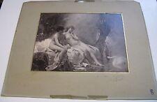 """PHOTOGRAPHIE TABLEAU LEON RUEL """"NUS MYTHOLOGIE LEDA CYGNE"""" 1880 ENVOI Signé"""