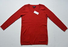Banana Republic Silk Blend Scooped Neck Knit Top Sweater M Red Pockets New