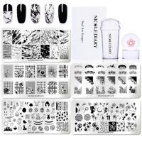 7Pcs/Set NICOLE DIARY Nail Stamping Plates Marble Dandelion Stamper Scraper Kit