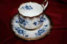 RARE Elizabethan Blue Roses heavy gold fine bone China Cup & Saucer England