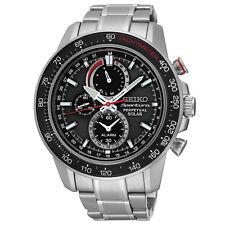 New Seiko SSC357 Solar Sportura Black Dial Chrono Stainless Steel Men's Watch