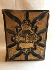 """Lg. 1886 Antique Leather 3D Holy Bible 1800's w/ Family Photos 5"""" Thick"""