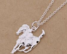 925 Sterling Silver Filled Horse Pendant Chain Necklace Women's Jewellery