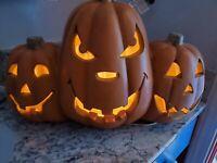Vintage Blow Mold Halloween Pumpkin Cluster Lighted Jack O'Lantern Side by Side