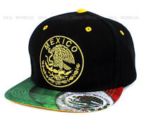 Mexican Flag hat Mexico Gold Embroidered Snapback Flat bill Baseball cap- Black