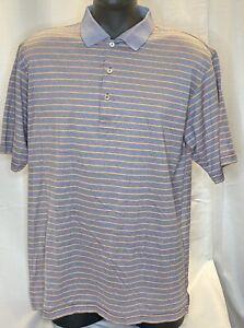 Peter Millar Mens Golf Polo Shirt Orange/Purple Stripe 100% Cotton S/S SZ XL