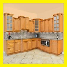 """96"""" Kitchen Cabinets Richmond All Wood Honey Stained Maple Group Sale Aaa Kcrc2"""