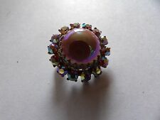 Stunning pink ab coated cabochon surrounded by ab crystals brooch 554-4